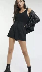NEU mit Etikett-Evita Gold Gr 12 schwarz Pleat Front Tailored Shorts-UVP £ 22