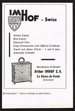 1950s Small Vintage 1957 Arthur Imhof Swiss Clock Paper Print Ad