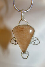 Sunstone stone pendant snake chain necklace healing jewelry enthusiastic alive