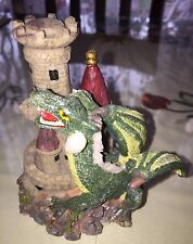 "Fantasy 4,5"" Resin Green Dragon And His Castle -Magic Mystical Figurine -Mint"