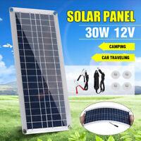 20/30W 12V/5V Solar Panel Dual USB Efficient Battery Charger Caravan Boat Home