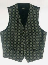 Mens Bachrach Silk Vest SIZE L Made in ITALY Black/Gold