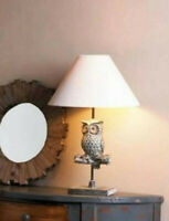 white rustic shabby OWL statue sculpture bedside table Lamp night light + SHADE