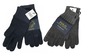 NEW Polo Ralph Lauren The Touch Gloves!   One Size  Gray or Blue  Cotton & Wool
