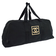 CHANEL Sports Line CC Logos Travel Hand Bag Purse Black Nylon 7863491 AK38298g