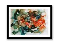 Wall Art Abstract Picture Modern Painting Orange Blue Brown ID : 1354