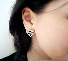 Modeschmuck Ohrringe Ohrstecker S  Superman Gold Schwarz mit Steinen Imitation