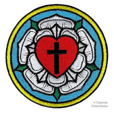 MARTIN LUTHER ROSE CHRISTIAN IRON-ON PATCH embroidered LUTHERAN CHURCH CROSS new