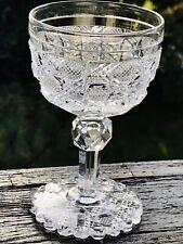 Antik Edel Glas Kristallglas Weinglas eingest. Luftblase Hochschiff Biedermeier?