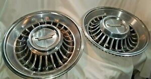 """1962 Cadillac Hub Caps 15"""" Stainless Set Of 2   -H185"""
