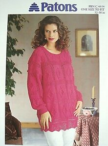 PATONS 4954 - LADIES DK LACY BOBBLE TUNIC KNITTING PATTERN - ONE SIZE 32/38in