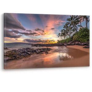 Colourful Beach Sunset Secret Cove Maui Hawaii Canvas Wall Art Picture Print A0