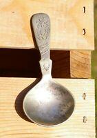 """Vintage Silver Tone Metal Loose Tea Scoop Tea Bag Caddy Antique 3 3/4"""" Spoon"""