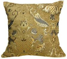 Wd23Aa Gold Brown Damask Chenille Flower Throw Cushion Cover/Pillow Case *Size