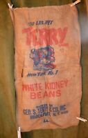 "Vintage Advertising 100# Burlap Bag ""TERRY"" White Kidney Beans Brockport, NY"