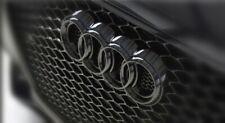 """Audi Emblem.Glänzend schwarz """"Ringe"""" Kühlergrill Vorne. 285mm x 99mm.Neu"""