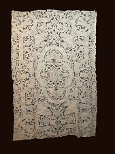 Antique Venise Tablecloth Needle Lace Handmade Heavily Emboidered Floral 98.5''