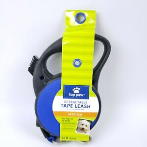 TOP PAW Retractable Tape Leash 16 Feet Medium Up to 80 Pounds Blue NEW