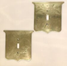 Rare Vintage 1920s 1930s Brass Light Switch Plates American Eagle Shield Pair