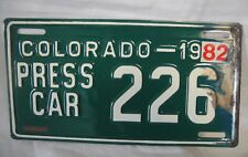 1982 Colorado Press Car License Plate #226
