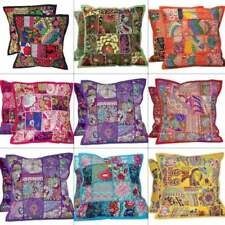 """Cushion Covers 16""""x16"""" Indian Heavy Embroidery Sari Patchwork Square Pillow Case"""