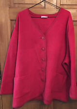 **~Plus Size Ladies Red Button Up Fleece Cardigan Size 24~**