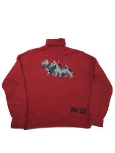 VTG Polo Ralph Lauren 2001 Hand Knit Lambswool Turtleneck Sweater Dog Size Small