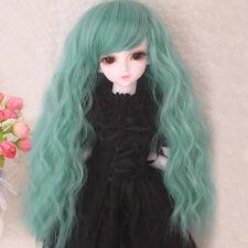 "BJD Doll Wig 8-9"" 1/3 SD DZ DOD LUT Long Corn Wavy Curly Green Hair Wig"