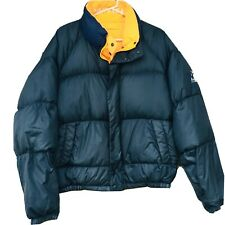 Nautica Down Jacket 90s XL Puffer Coat Spell Out Reversible Vintage Yellow
