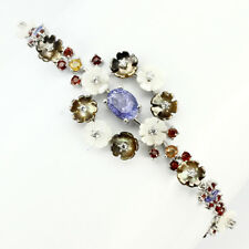 GENUINE TANZANITE CARVED MOTHER OF PEARL SAPPHIRE & CZ 925 SILVER BRACELET 10 IN
