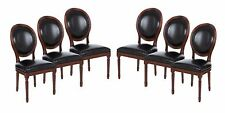 Set of 6 Vintage French Round Upholstered Side Dining Chairs Black