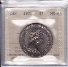 1977 ICCS MS65 $1 (Detached Jewel Short Water Line DJ SWL) Canada one dollar nic