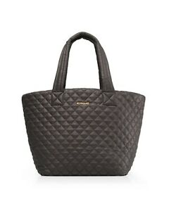 BRAND NEW MZ Wallace Quilted Medium Metro Tote w/ Pouch, Awesome Magnet Grey NWT