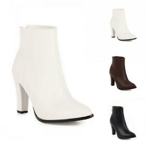 Womens Chelsea Knight Ankle Boots Block Heel Pointy Toe Back Zip Casual Shoes Sz