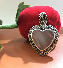 Mother Of Pearl Heart Marcasite Pendant As Is