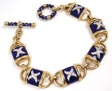 "Vintage Hidalgo 18K Yellow Gold Blue Enamel X Diamond Toggle Bracelet 7"" 48.4g"