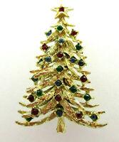 Vintage Rhinestone Christmas Tree Brooch Pin Multi Color Gold Tone Metal