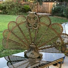 Vintage Art Deco Brass Fireplace Folding Screen Peacock Hearth Fire Fan