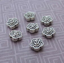 Antique Silver Mini Flower Rose Beads - pack of 30