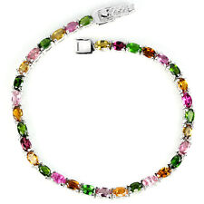 Sterling Silver Bracelet Shades of Tourmaline Green Chrome Diopside  7 Inch