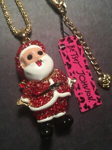 Betsey Johnson Red Crystal Smile Santa Claus MOVABLE PARTS NECKLACE-BJ10119