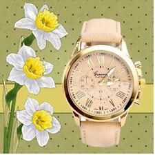 Mode-Damen Datum Stainless Steel Leder Analog Quarz Armbanduhr Watch