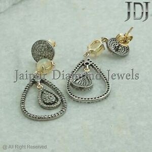 Pave Diamond Ethiopian Opal Dangle Earrings 925 Silver Gemstone Jewelry Gifts
