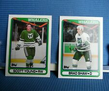 1990 Topps Hartford Whalers 2-card set Scott Young #84 Brad Shaw #279