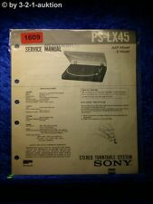 Sony Service Manual PS LX45 Turntable System (#1609)