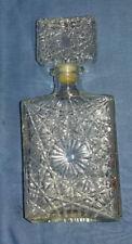 Rectangular Vintage Pressed Glass Whisky, Spirit Decanter Impressed (C) #2083 #6