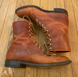 Justin Comb Last Made in USA Leather Lace Up Cowboy Combat Boots, size 10.5 D