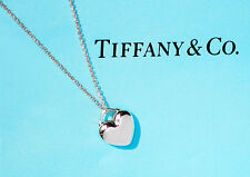 Tiffany & Co Hearts Sterling Silver Puff Heart LOVE Charm Pendant Necklace
