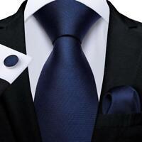 Navy Solid Mens Tie Set Silk Necktie Pocket Square Cufflinks Formal Business