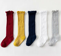 Girl Kid baby Summer Calf High Cotton long frilly Socks Tights protector 0-4 Yrs